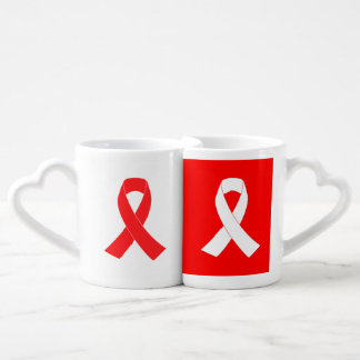 Conciencia del cáncer de la cinta del SIDA del VIH Taza Para Parejas