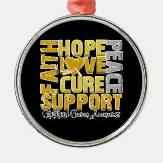 Conciencia del cáncer de la niñez de la curación adorno navideño redondo de metal