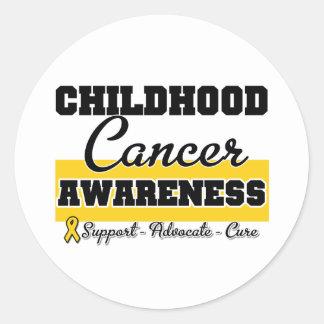 Conciencia del cáncer de la niñez etiquetas redondas