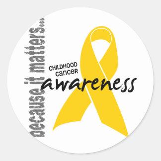 Conciencia del cáncer de la niñez etiqueta redonda
