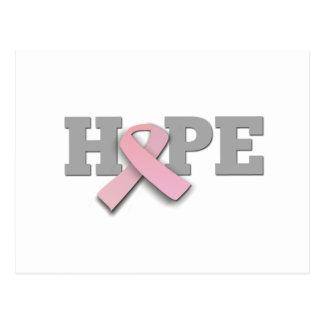 Conciencia del cáncer de pecho - esperanza rosada postales