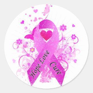 Conciencia del cáncer de pecho pegatina redonda