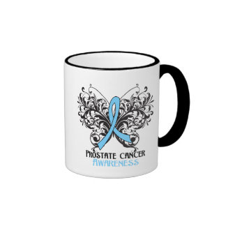 Conciencia del cáncer de próstata de la mariposa taza de café