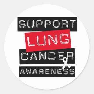 Conciencia del cáncer de pulmón de la ayuda pegatina redonda