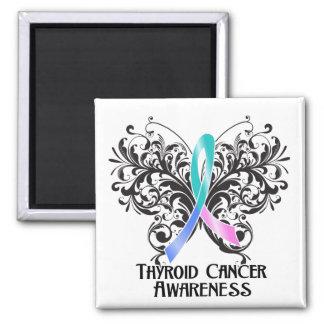 Conciencia del cáncer de tiroides de la mariposa imán cuadrado