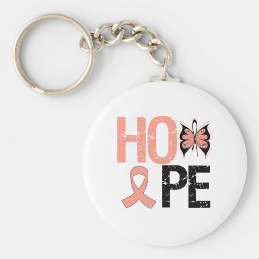 Conciencia del cáncer endometrial de la esperanza llavero redondo tipo pin