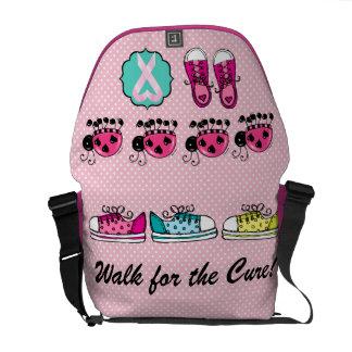 Conciencia del cáncer - paseo para la curación bolsas messenger