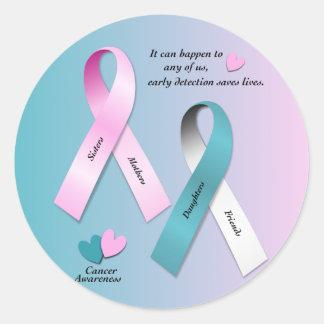 Conciencia del cáncer pegatina redonda