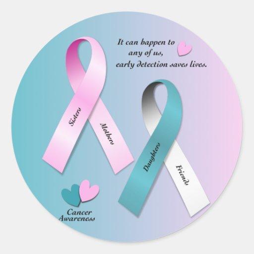 Conciencia del cáncer etiqueta redonda