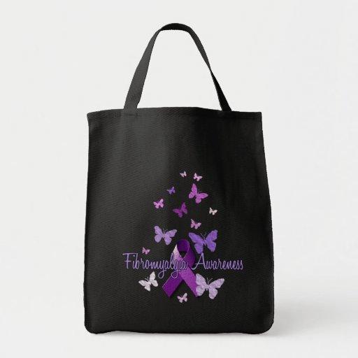 Conciencia del Fibromyalgia (cinta y mariposas) Bolsa Tela Para La Compra