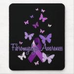 Conciencia del Fibromyalgia (cinta y mariposas) Alfombrilla De Raton