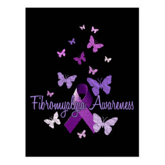 Conciencia del Fibromyalgia cinta y mariposas Tarjeta Postal