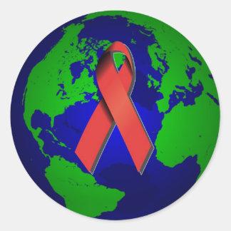 Conciencia del SIDA para todos Pegatina Redonda