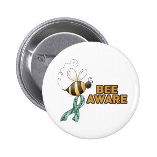 Conciencia enterada del autismo de la abeja pin redondo 5 cm