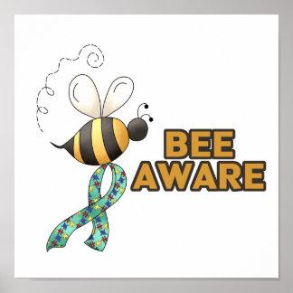Conciencia enterada del autismo de la abeja póster