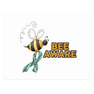 Conciencia enterada del autismo de la abeja postales