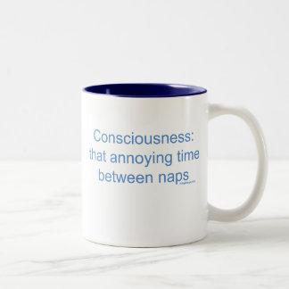Conciencia: esa vez molesta entre las siestas taza de café de dos colores