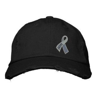 Conciencia gris de la cinta de la diabetes del gorra de beisbol bordada