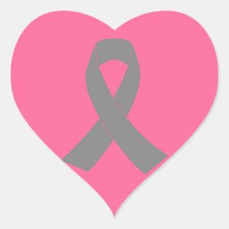 Conciencia gris de la cinta - zombi, cáncer de pegatina en forma de corazón