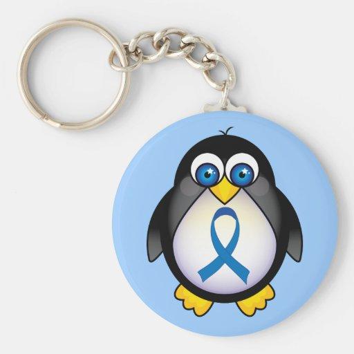 Conciencia linda Kechain del pingüino de Blue Ribb Llaveros