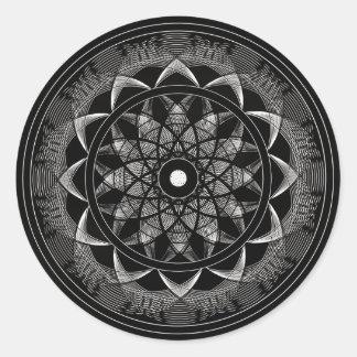 Conciencia - mandala sagrada de la geometría pegatina redonda