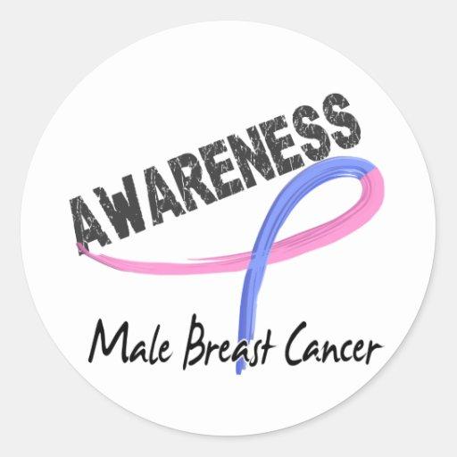 Conciencia masculina 3 del cáncer de pecho pegatinas redondas