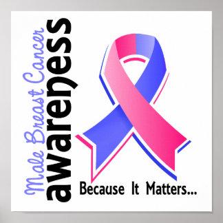 Conciencia masculina 5 del cáncer de pecho póster