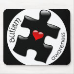 Conciencia Mousepad - negro del autismo Tapetes De Ratones