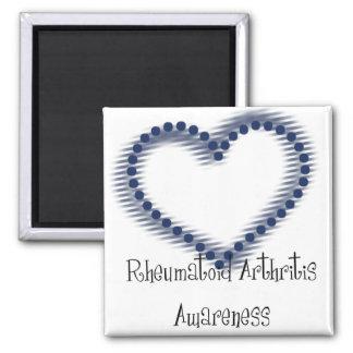 Conciencia punteada azul de la artritis reumatoide imán cuadrado