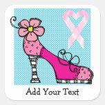 Conciencia rosada del cáncer de la cinta calcomania cuadradas personalizadas