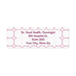 Conciencia rosada del cáncer de pecho de la cinta etiquetas de remite
