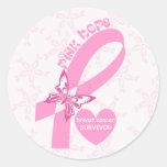 Conciencia rosada del cáncer de pecho de la cinta pegatinas redondas