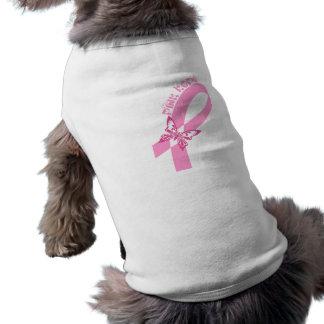 Conciencia rosada del cáncer de pecho de la cinta playera sin mangas para perro