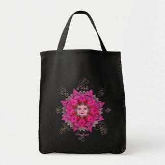 Conciencia rosada - tote del ultramarinos (negro) bolsa tela para la compra