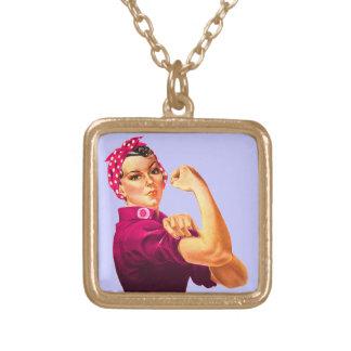 Conciencia Rosie del cáncer el remachador Collar Dorado