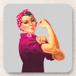 Conciencia Rosie del cáncer el remachador Posavasos