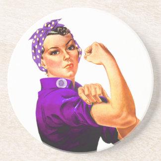 Conciencia Rosie del Fibromyalgia el remachador Posavaso Para Bebida