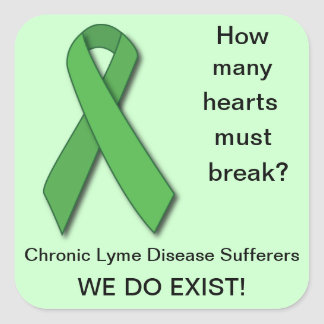 Conciencia verde de la enfermedad de Lyme de la Calcomania Cuadradas