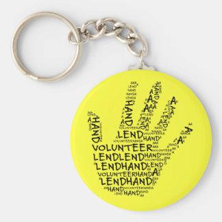 Conciencia voluntaria: Preste una mano amiga Llavero Redondo Tipo Pin