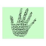 Conciencia voluntaria: Preste una mano amiga Tarjetas Postales