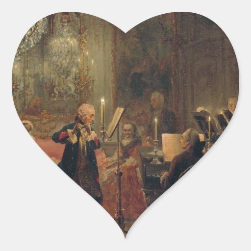 Concierto de la flauta con Frederick el gran Calcomanía Corazón Personalizadas
