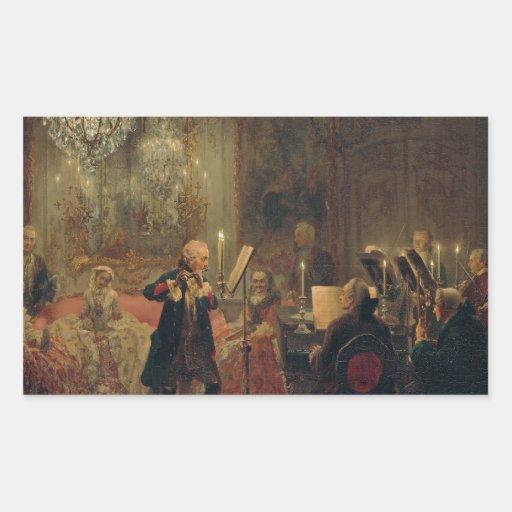 Concierto de la flauta con Frederick el gran Rectangular Pegatinas