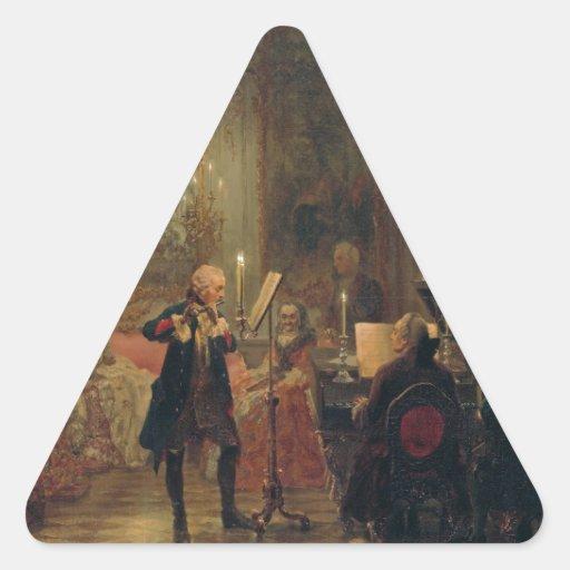 Concierto de la flauta con Frederick el gran Calcomania De Triangulo Personalizadas