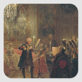 Concierto de la flauta con Frederick el gran Pegatina Cuadrada