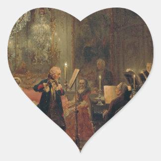 Concierto de la flauta con Frederick el gran Pegatina En Forma De Corazón