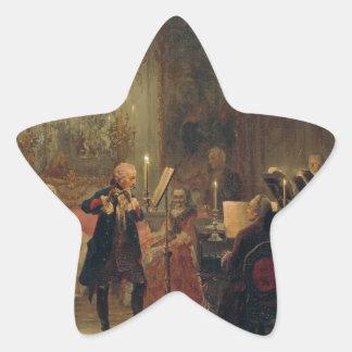 Concierto de la flauta con Frederick el gran Pegatina En Forma De Estrella