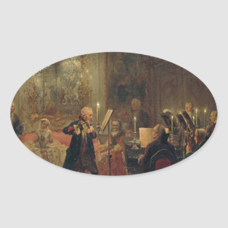 Concierto de la flauta con Frederick el gran Pegatina Ovalada
