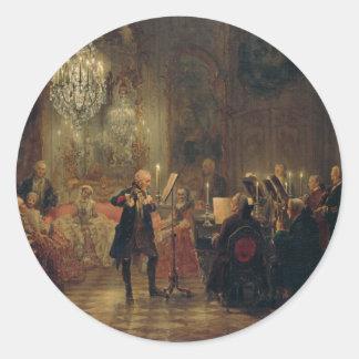 Concierto de la flauta con Frederick el gran Pegatina Redonda