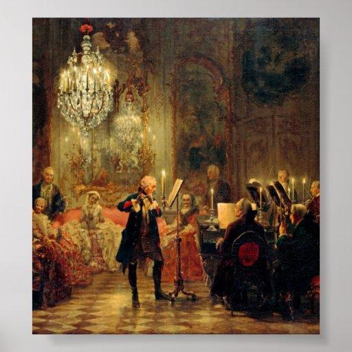Concierto de la flauta con Frederick el grande Póster