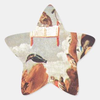 Concierto de pájaros de Francisco Snyders Pegatina En Forma De Estrella